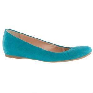 J. Crew Cece Turquoise Blue Suede Ballet Flats for sale